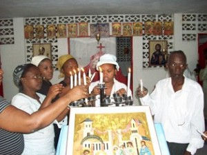 Parishioners attend funeral service<br/> at Nativity of the Virgin Church<br/> in Port-au-Prince.