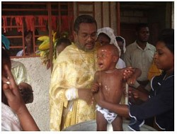 A baptism in Jacmel, October 2010.