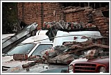 Rubble on cars during<br>the earthquake in Santiago, Chile<br>Feb.27, 2010