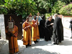 Local clergy welcome the First Hierarch.