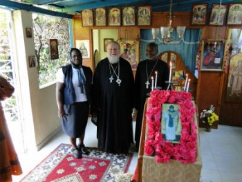 Metropolitan Hilarion with Priest Gregoire and matushka Rose Legoute during his pastoral visit to Haiti, January 2015