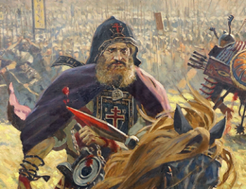 Monk Peresvet pictured here in the 2005 painting 'Peresvet's victory' by Pavel Ryzhenko had the support of St Sergius of Radonezh. Will you support your priest when he rides into battle for your soul?